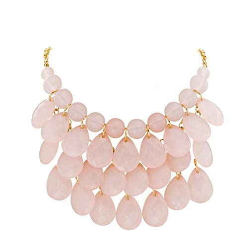Jane Stone Fashion Bubble Layered Necklace Floating Teardrop Collar Statement Jewelry for Women(Fn0580-Pink)