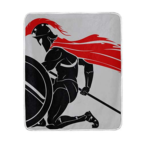"GGKDL Throw Blanket Kneeling Spartan Warrior Soft Blanket Warm Plush Blanket for Sofa Chair Bed Office Gift Best Friend Women Men 50""x60"" Soft Travel Blanket"