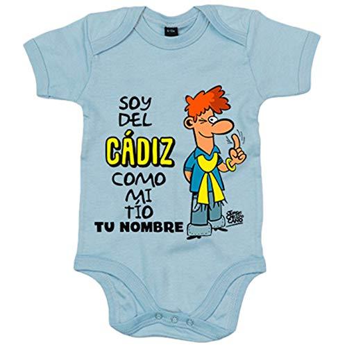 Body bebé soy del Cádiz como mi tio personalizable con nombre ilustrado por Jorge Crespo Cano - Celeste, Talla única 12 meses