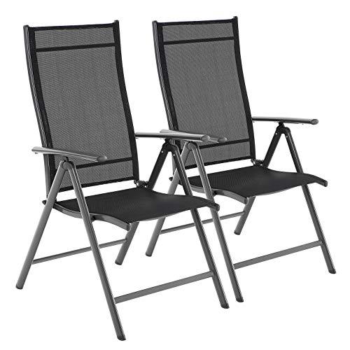 SONGMICS Gartenstühle, 2er Set, Klappstühle, Outdoor-Stühle mit robustem Eisengestell, Rückenlehne 8-stufig verstellbar, bis 150 kg belastbar, schwarz GCB03BK