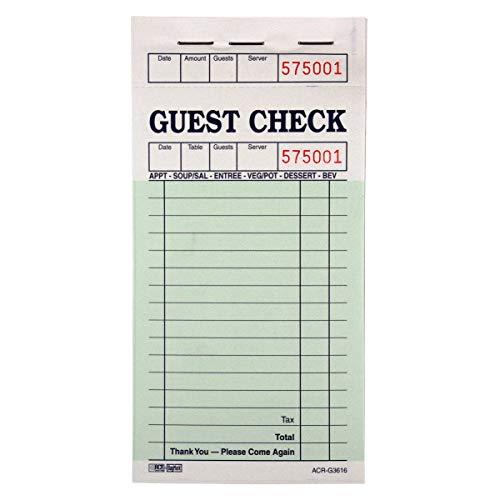 DayMark ACR-G3616 Guest Check Board, 1 Part, Green (50 Books, 100 Checks per Book)