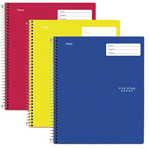 """Five Star Interactive Notetaking, 1 Subject, College Ruled Spiral Notebooks, 100 Sheets, 11"""" x 8-1/2"""", 3 Pack (38581)"""