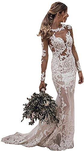 iluckin Vinatage Sexy Damen Trompete Meerjungfrau Brautkleid Spitze lang Hochzeitskleid Braut Kleid Standesamt mit Lange Ärmel Champagner