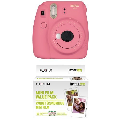 Image of the Fujifilm Instax Mini 9 Instant Camera - Flamingo Pink with Value Pack - 60 Images