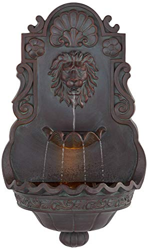 John Timberland Lion Head 31 1/2' High Indoor Outdoor Bronze Wall Fountain