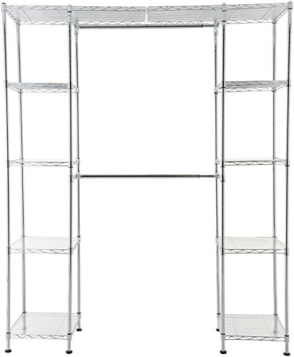 AmazonBasics Expandable Metal Hanging Storage Organizer Rack Wardrobe with Shelves, 14'-63' x 58'-72', Chrome
