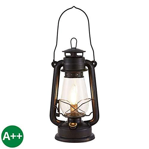 Lindby Tischlampe (Laterne) 'Raisa' (Retro, Vintage, Antik) in Braun aus Metall u.a. für Wohnzimmer & Esszimmer (1 flammig, E14, A++) - Tischleuchte, Schreibtischlampe, Nachttischlampe
