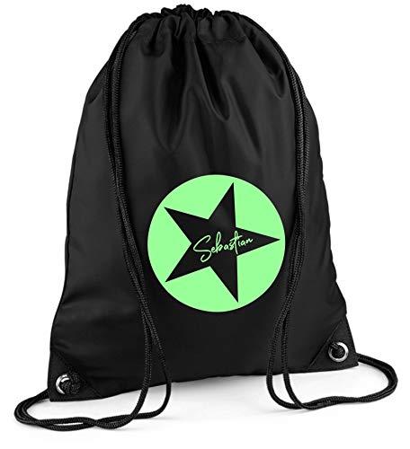 Gymtas met naam | Motief ster ster incl. naam opdruk | personaliseren & bedrukken | sporttas schoentas donkerblauw voor jongens en meisjes kinderen | rugzak om te trekken