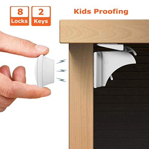 Child Safety Locks for Kitchen, Living Room, Bathroom, Invisible Baby Proof Magnetic Cabinet Locks for Cabinets, Cupboard, Drawers,