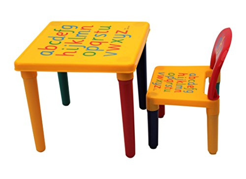 HH Home Hut Table and Chair Set Childs ABC Alphabet Childrens Plastic Kids...