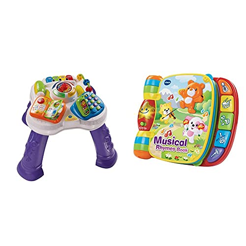 VTech Play & Learn Baby Activity Table, Baby Play Centre, Educational Baby Musical Toy with Shape Sorting, Sound Toy with Music Styles for Babies & Toddlers From 6 Months+ Purple & Musical Rhymes Book