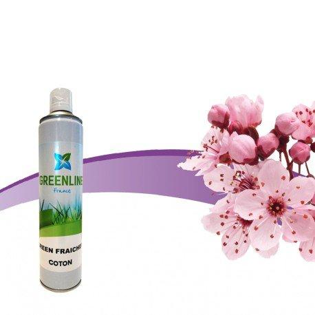 Green Line Francia–Green Fraicheur algodón aerosol 600ml ambientador, Destructor de olores Defensivo Y No Tóxicas