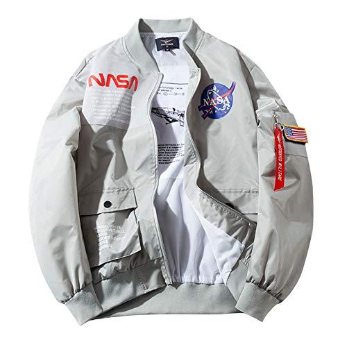 チーアン Tiann MA-1ジャケット メンズ フライトジャケット ブルゾン ジャンパー ミリタリー アウター パーカー スタジャン 春 秋 冬 グレー1 2XL
