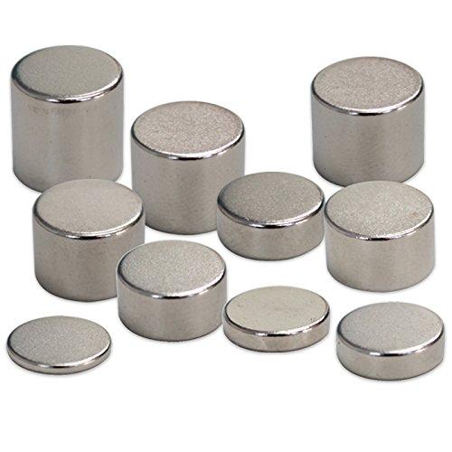 【10個入り】 強力ネオジウム磁石 (円柱型) N38/Ni Ф10 x 7mm