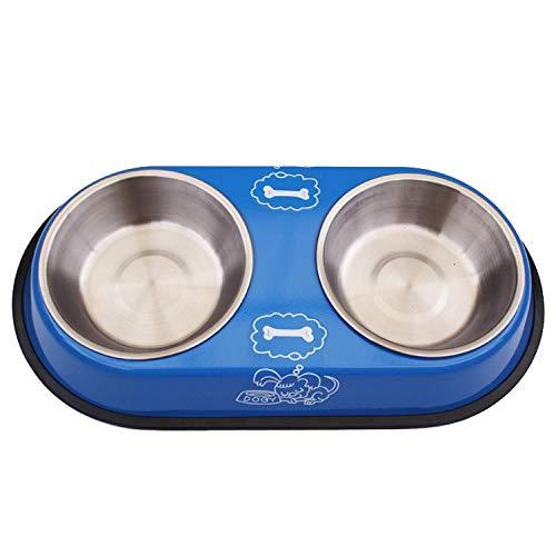Hundenapf Doppelte Hundenäpfe Niedliche Edelstahl-Haustiere Trinkgeschirr Welpenfutter Wasserzufuhr Haustiere Zubehör Futtermittel Hundenapf 34,5 X 18,5 X 5 cm SkyBlue