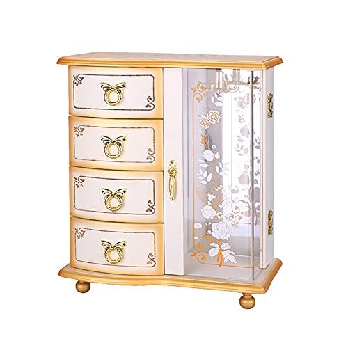 HOLPPO-URG Caja de joyería de Mano Blanca,Caja de joyería de Madera,Caja Femenina,Caja de Almacenamiento,Estilo Chino Europeo Retro Gran Capacidad Simple URG