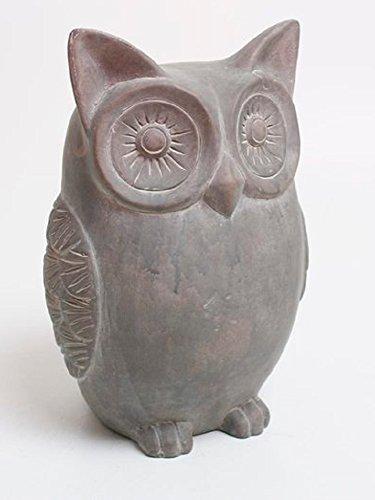 Dekofigur Eule grau, 28 cm, Keramik/Skulptur Uhu