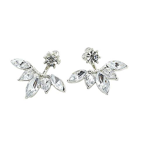 Pendientes de plata para mujer, con diseño de circonita, hebilla de oreja y chapado en oro (plata)