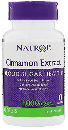 Natrol Cinnamon Extract Tablets 1,000mg 80 Count (Pack of 4)