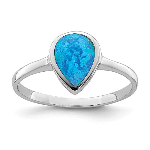 925 Sterling Silver Teardrop Synthetic Opal Band Ring Size 7.00 Gemstone Fine Jewelry For Women Gifts For Her