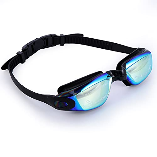 Swimming Goggles with Anti Fog Technology - 3 Piece Adjustable Nose Bridge for Perfect Comfortable Fit for Adults and Kids - Ergonomic Silicone Earplugs Included (Black)