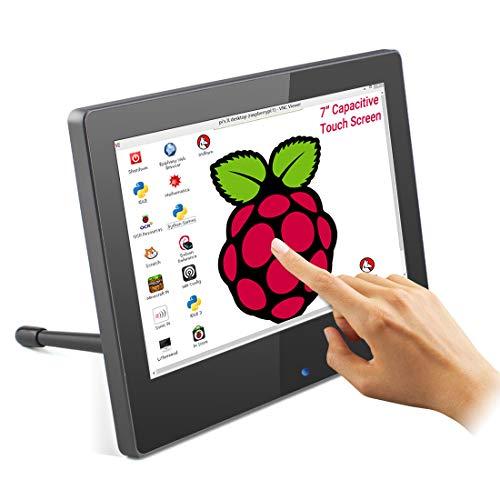 Tragbarer Raspberry Pi Monitor mit Touch Screen, ELECROW 7-Zoll HDMI Touchscreen Display mit Zwei Integrierten Lautsprechern und Einstellbarer Hintergrundbeleuchtung, für Raspberry Pi 4B 3B + /PC