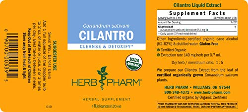 Herb Pharm Certified Organic Cilantro Liquid Extract for Cleansing and Detoxification Support - 4 Ounce
