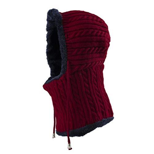 BESPORTBLE Winter warme Mütze Nackenwärmer Ski Schnee Kapuzenschal Mütze gestrickte verdickte Mützen für Frauen Männer (rot)