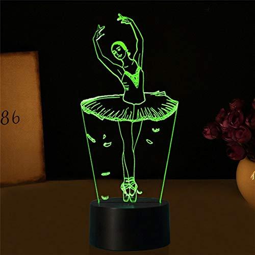 Ilusión de la lámpara del ballet 3D USB chica 3D LED luces