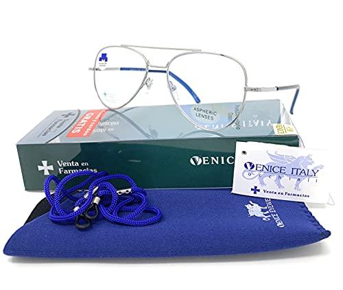 New Model Gafas de lectura con filtro bloqueo luz azul para gaming, ordenador, móvil. ULTIMA MODA Anti fatiga PILOTO unisex venice (Silver Blue, +0,00 Sin Graduar)
