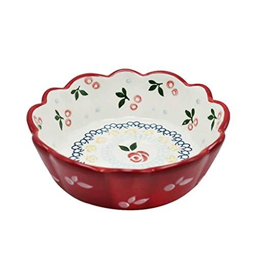 Cuenco de cultura popular, pintado a mano, pequeño cuenco de cerezo para ensalada, arroces, pequeño cuenco para aperitivos, cuenco pequeño de cerámica para hornear, 15 x 5 x 11,3 cm