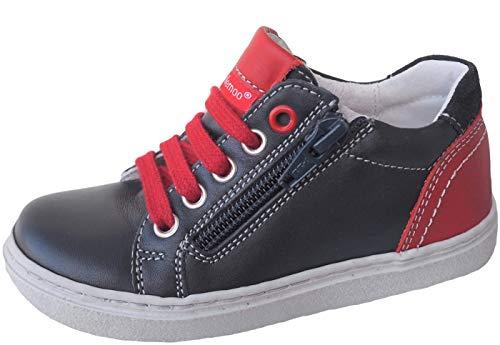 ennellemoo® Jungen-Kinder-Sneaker-Halbschuhe. Echt Leder-Schuhe-Reißverschluss-Schnürer. Premiumschuhe - Vollleder. (27 EU, Marineblau/Rot)