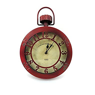 Concepts Red Rustic Vintage Wall Hanging Clock