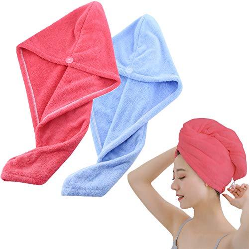 Toalla Pelo 2 Piezas, Toalla Secado Rapido, Toalla Microfibra Pelo Rizado, Toalla Pelo Secado Rapido, Absorción Rápida de Agua, Fijada con Botones (Rosa roja + Azul)