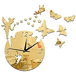Lhak Fashion Wall Clock Magical Acrylic Mirror Modern Decorative Clocks, Wall Clocks Wall Clock/Fairy and Butterfly Mute Clock,Large 46 42cm/Small 31 28cm, Big Black Suitable for Home, School, compa