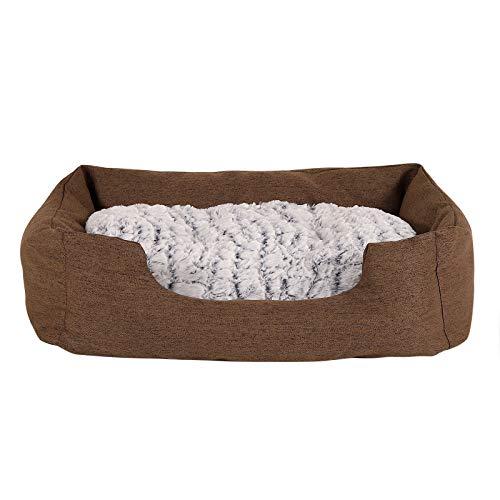 dibea Letto per cani tessuto melange divano per cani cuscino da pavimento reversibile (M) 80x60 cm Marrone