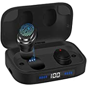 Ceppekyy Wireless Earbuds, Bluetooth 5.0 in-Ear TWS Headphones Auto Pairing Earphones with 2000mAh Charging Case LED Battery Display 80H Playtime, IPX7 Waterproof