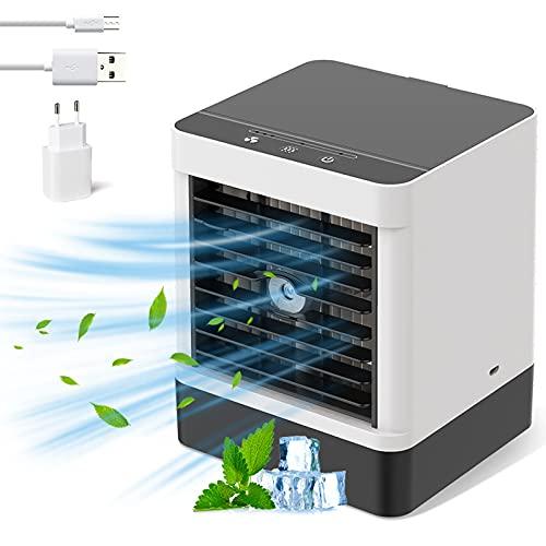 Mini aire acondicionado portátil, mini ventilador de refrigeración de aire acondicionado USB, ventilador de refrigeración de agua, ahorro ventilador de refrigeración por agua, pequeño y ligero