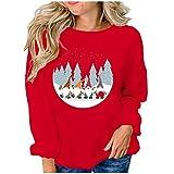 Camisetas de manga larga para mujer, cuello redondo, ropa deportiva, camisa de manga larga, para otoño, blusa suelta, moda de Papá Noel, diseño casual., rojo, M