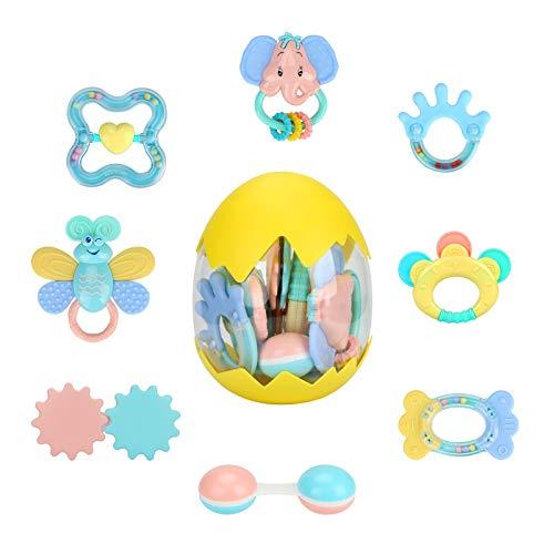 welltop Rassel Beißring Set Baby Spielzeug Shaker Greifen Rassel Baby Kleinkind Neugeborenen Spielzeug Frühe Lernspielzeug für 3 6 9 12 Monate Jungen Mädchen Baby Geschenke(8 PCS)