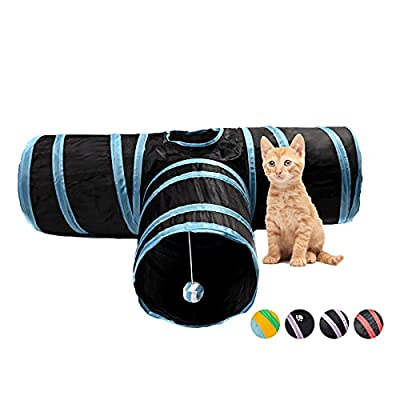 Alicedreamsky Cat Tunnel, Collapsible Tube with 1 Play Ball Kitty Toys, 3 Ways Cat Tunnels for Indoor Cats, Puppy, Kitty, Kitten, Rabbit (Black and Blue) from Alicedreamsky