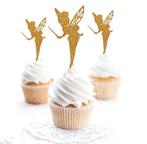 Soccerene 24pcs Gold Glitter Pretty Ballet Dancer Fairy Peri Cupcake Toppers Baby Girls Children Kids Toddlers Birthday Bridal Shower Baby Shower Wedding Favors