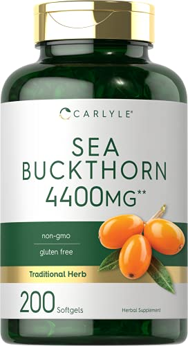 Sea Buckthorn Oil Capsules | 4400mg | 200 Quick Release Softgels | with Omega 7 | Sea Buckthorn Berry Oil Supplement | Non-GMO, Gluten Free | by Carlyle