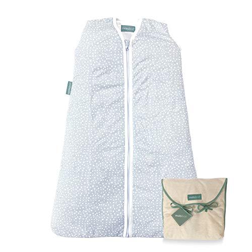 molis&co. Saco de Dormir para bebé 100% algodón orgánico (GOTS). Acolchado. 6 a 18 meses. Ideal para Entretiempo e Invierno. 2.5 TOG. Suave y cálido. Grey Print.