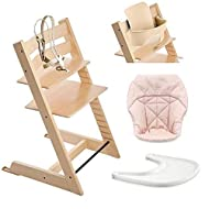 Stokke Tripp Trapp High Chair, Baby Set - Natural, White Tray & Mini Baby Cushion - Pink Bee