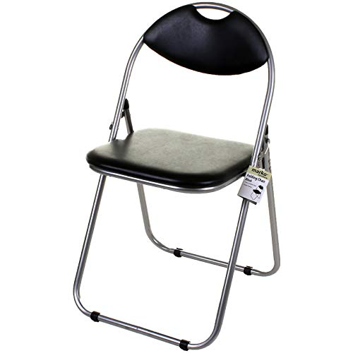 Marko Furniture Black & Pink Faux Leather Folding Chair Padded Seat & Back Rest Computer Office (1 Chair, Black)