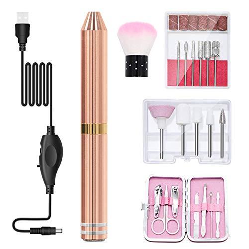 LGQ Kit de Taladro de uñas eléctrico USB, Amoladora de limas de aleación de Aluminio portátil Profesional, Herramientas de manicura y pedicura para pulir y Eliminar la Piel Muerta