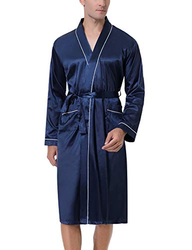 Akalnny Bata De Hombre Larga Batas De Baño Saten para Hombres Albornoz Kimonos Pijama Ropa De Dormir para Hombres