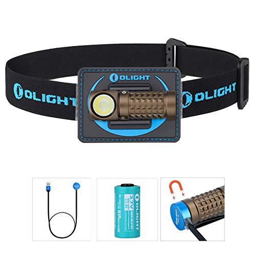 Olight Perun Mini linterna frontal 1000 lúmenes Cool White LED recargable USB Linterna pequeña linterna EDC con batería 16340 + caja de batería (Desert Tan + cinta para la cabeza)