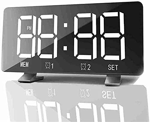 Despertador LED Digital Reloj de alarma Espejo Multifunción Snooze Pantalla de tiempo Iluminación Ajustable Fm Memoria Radio Mesa Reloj